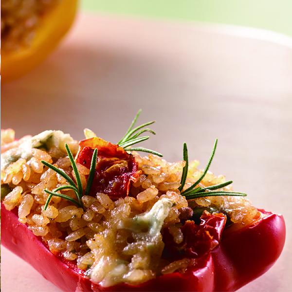 爐烤香料米飯鑲甜椒